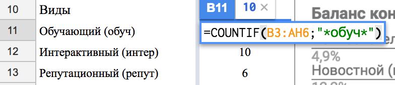Формула гугл док которая считает количество контента